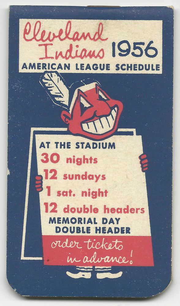 1956 CLEVELAND INDIANS American League Pocket Schedule Booklet