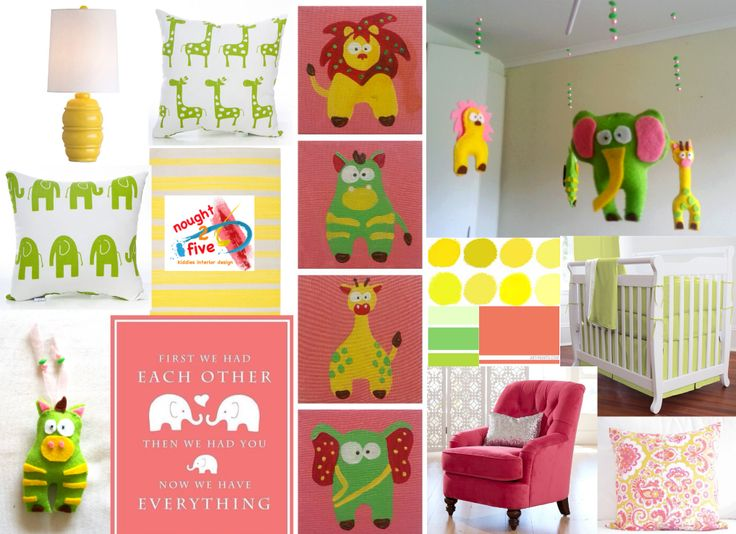 Animal themed nursery, paintings, mobile and design by nought 2 five. www.facebook.com/noughttwofive