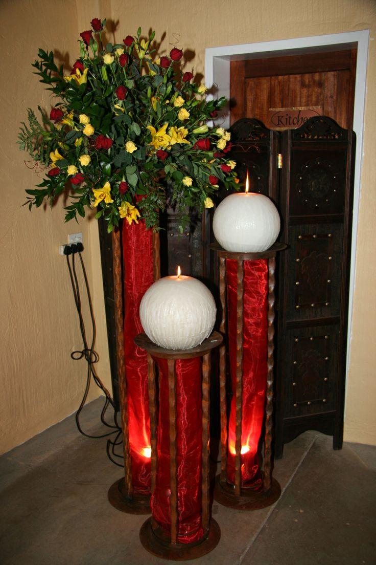 A striking #Wedding #Decoration in dark #Red, #Yellow and #White wwwthabatshwene.co.za.