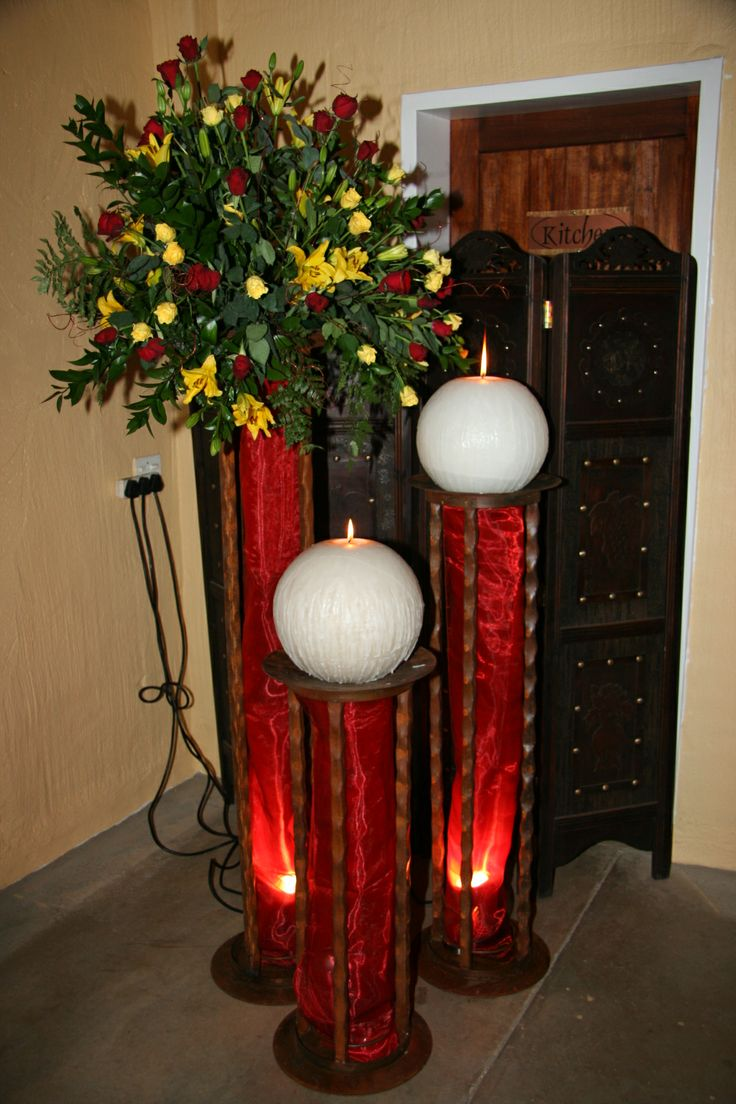 A striking #Wedding #Decoration in dark #Red, #Yellow and #White wwwthabatshwene.co.za.
