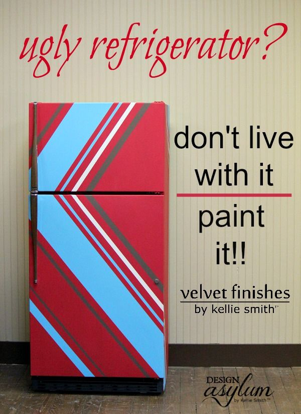 Is an ugly old refrigerator bringing you down? Don't live with it, paint your refrigerator with Velvet Finishes! Angled stripes tutorial included!