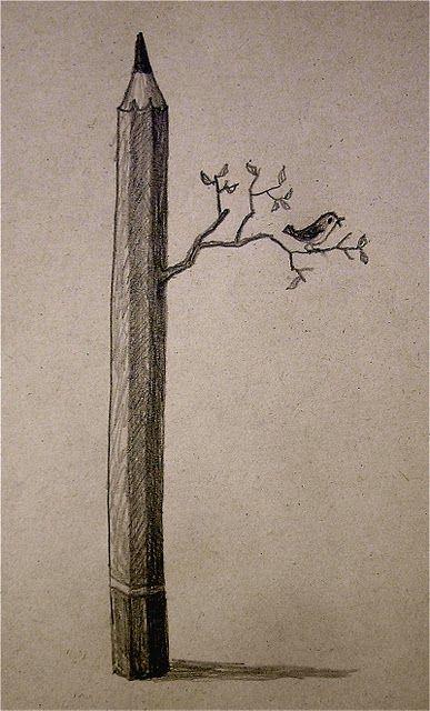 lovely: Birds Art, Drawings Art, Illustration, French Matticchio, Pencil Drawings, Mondays Matticchio, Pencil Art, To Drawings, Pencil Trees