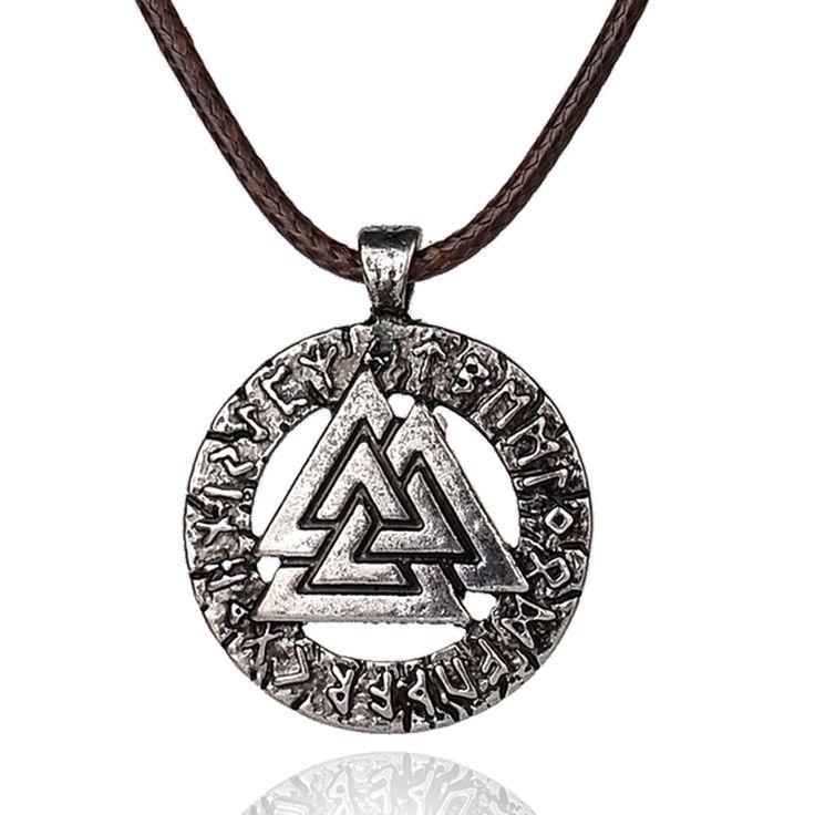 Slavicノルウェーvalknut異教お守りペンダント男性ネックレススカンジナビアバイキングジュエリーオーディンのシンボルの北欧バイキング戦士