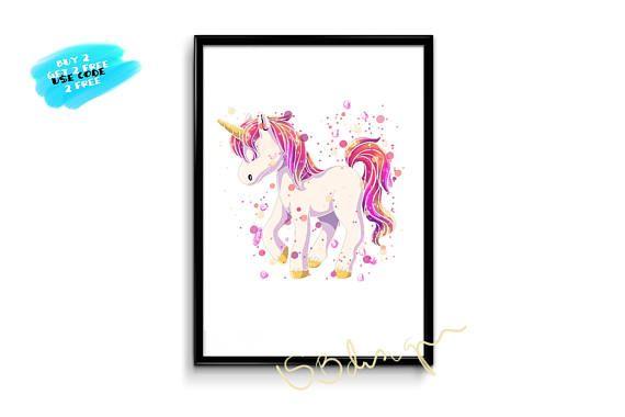 Disney Pony Watercolor Print Unicorn Poster Nursery watercolor