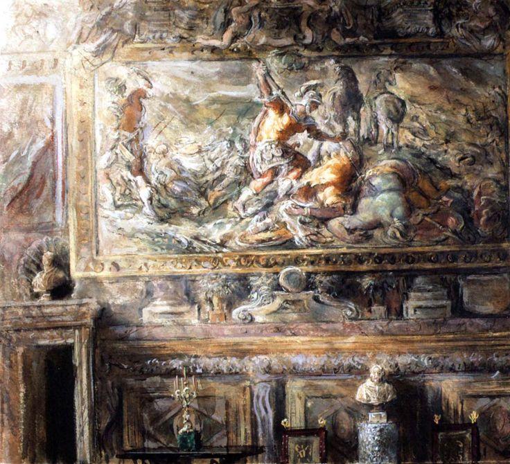 Philippe Casanova; Inside Sacchetti Palace (Rome); Tempera on paper; 1995