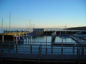 Blick über den Bodensee, Einfahrt in den Fährhafen Konstanz Staad