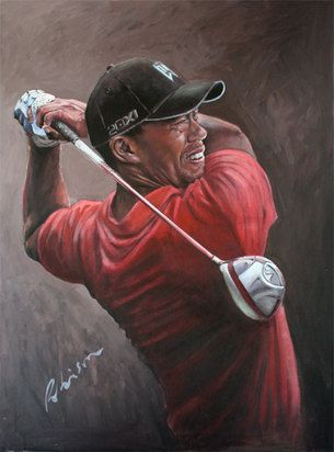 Tiger Woods Mark Robinson swing portrait painting - Donation to The Dubai American Women's Association - Gala Auction - 2013. #golf #art #dubai #tigerwoods #usa #mydubai Note: Visit the Mark Robinson website for more details for available stock, commissions, exhibitions or tournament enquiries - www.robinsongolfart.com