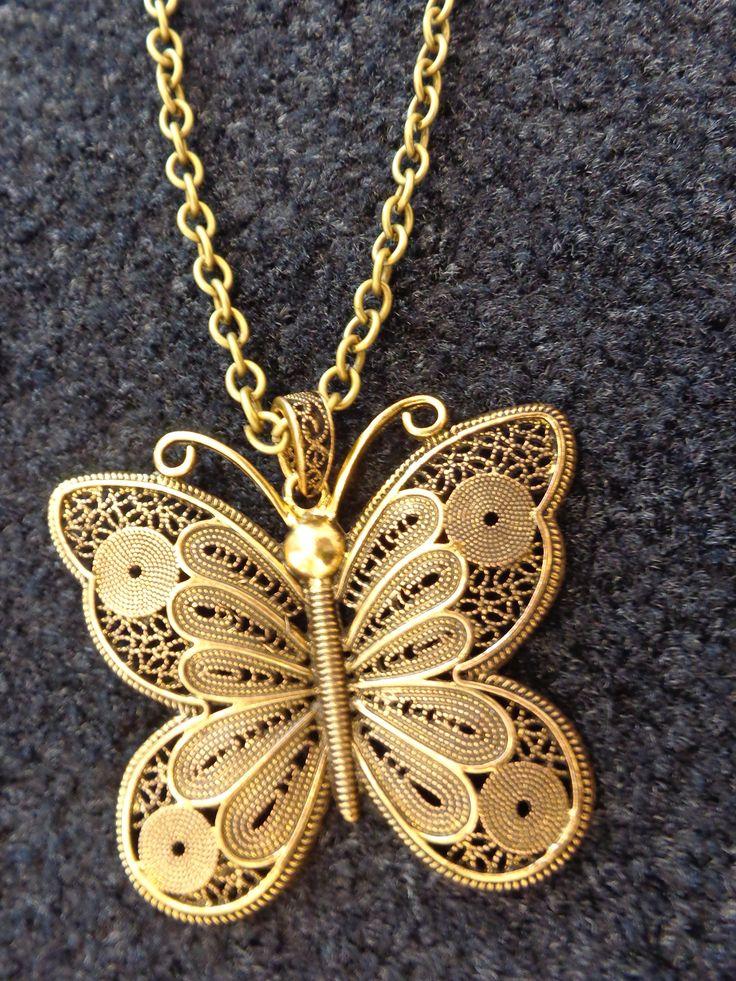 Colar de corrente bronze, pendente borboleta bronze com efeitos dourados