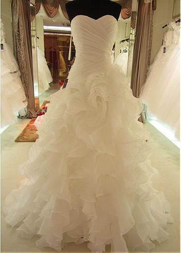 I think this is my favorite so far :) Romantic Organza Sweetheart Neckline Asymmetrical Waistline A-line Wedding Dress