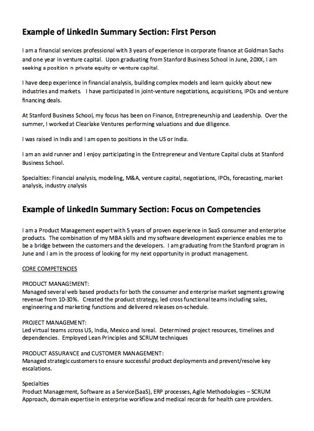 linkedIn Summary Resume Example -    resumesdesign - resume competencies examples