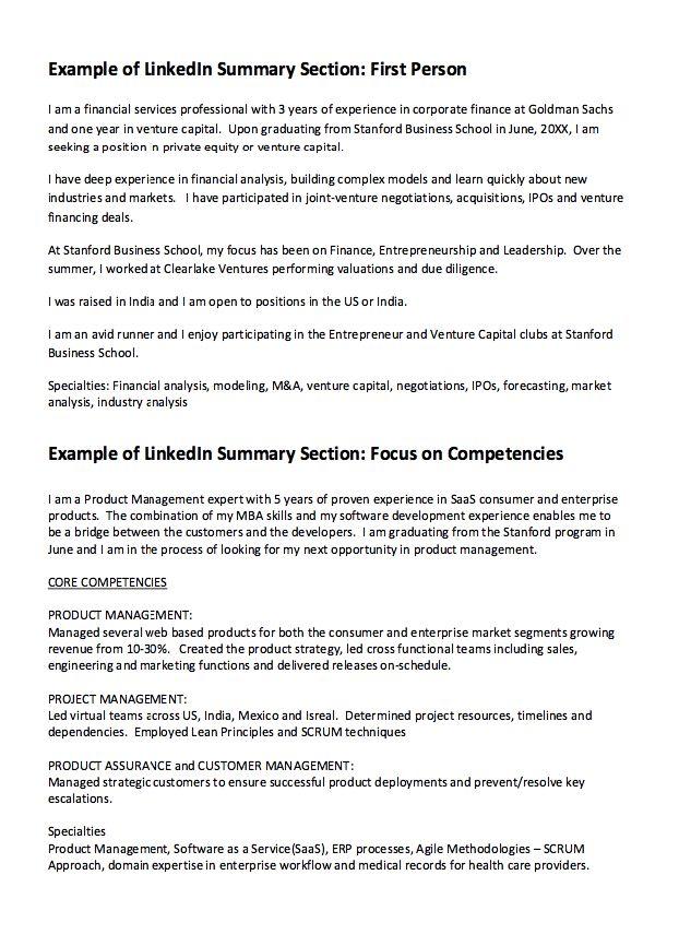 linkedIn Summary Resume Example - http://resumesdesign.com/linkedin-summary-resume-example/