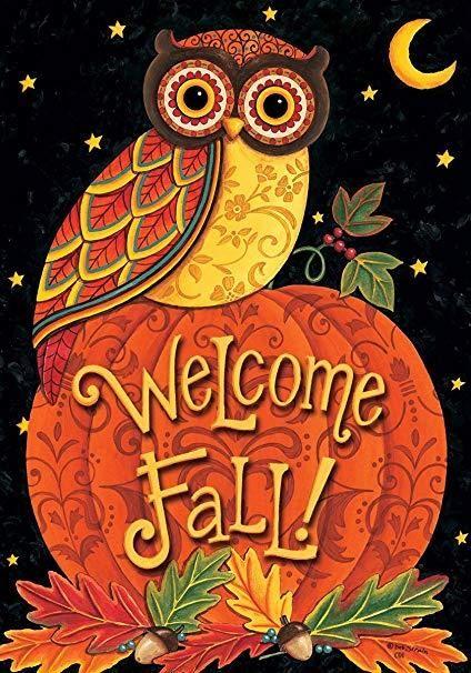 Welcome Owl - Garden Flag   Fall owl, Fall clip art ...