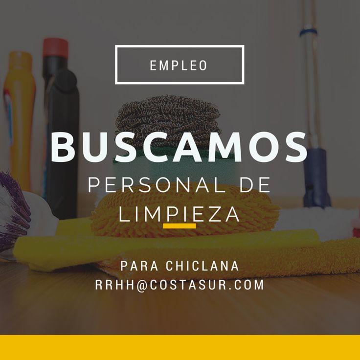 Buscamos personal de limpieza para #Chiclana (Cádiz). Personas interesadas escribid a rrhh@costasur.com