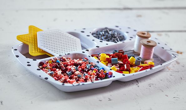 Kids compartment plates will find perfect use for sorting beads and the likes -it's not just for food.