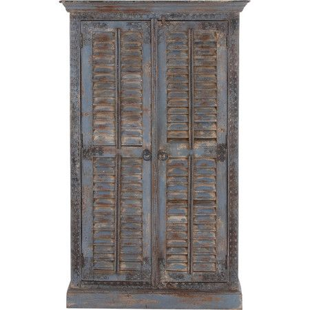 2-door cabinet with louvered panels and a weathered finish.   Product: CabinetConstruction Material: Wood