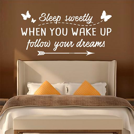 vinilo decorativo con la frase sleep sweetly when you wake up follow your dreams - Vinilos Baratos