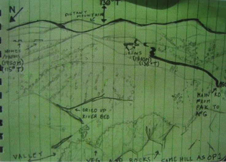 The map given to the Navy SEALs and Lt Murphy for Operation Red Wings detailing their mission.