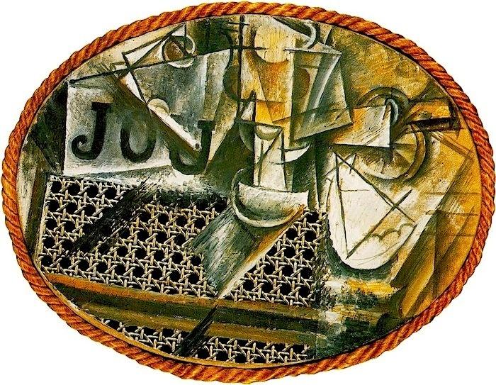 Pablo Picasso, Natura morta con sedia impagliata, 1911-1912