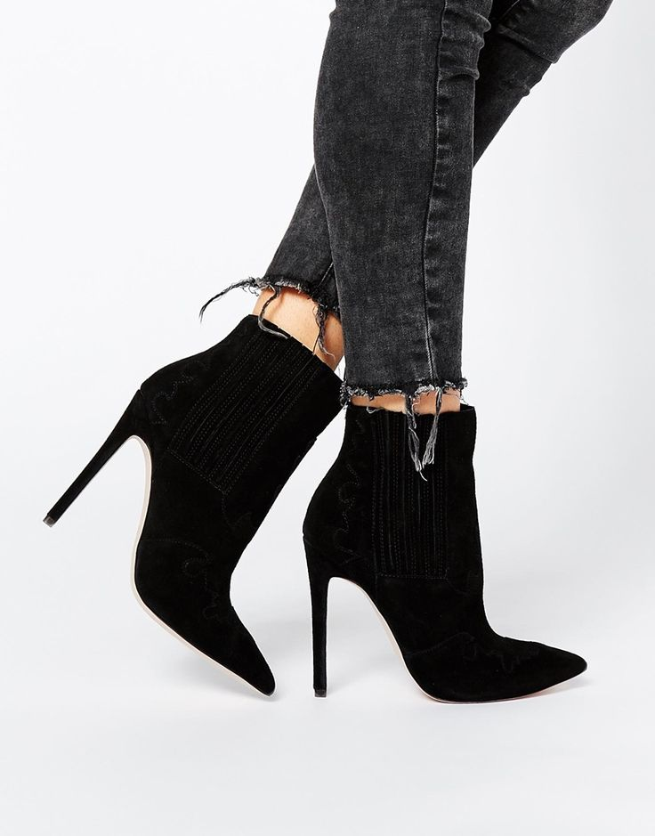 ASOS ECCLECTIC Suede Pointed Ankle Boots