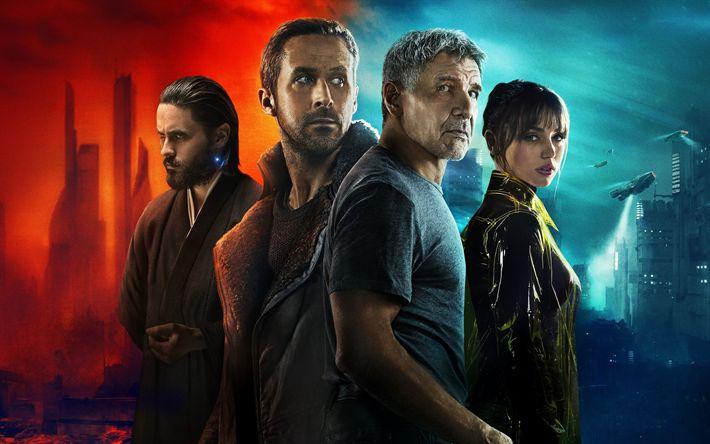 Download wallpapers Blade Runner 2049, 2017, Jared Leto, Ryan Gosling, Ana de Armas, Harrison Ford, Thriller