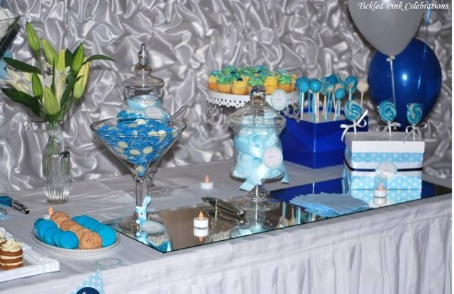 Blue and white Christening lolly buffet styling by Tickled Pink Celebrations Sydney