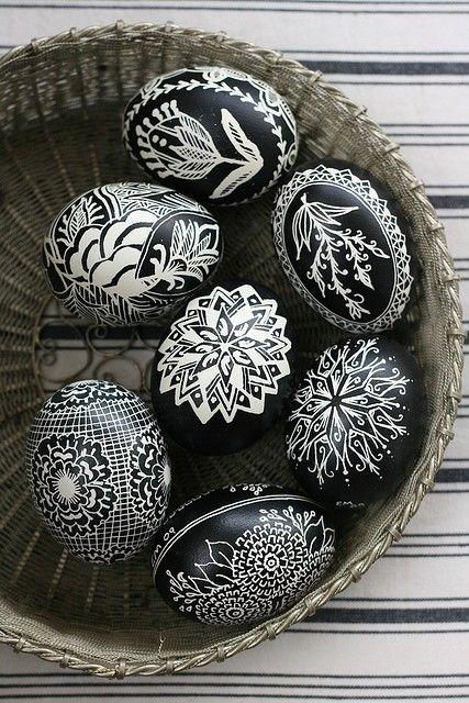 black and white easter eggs    ECKMANN STUDIO LOVE
