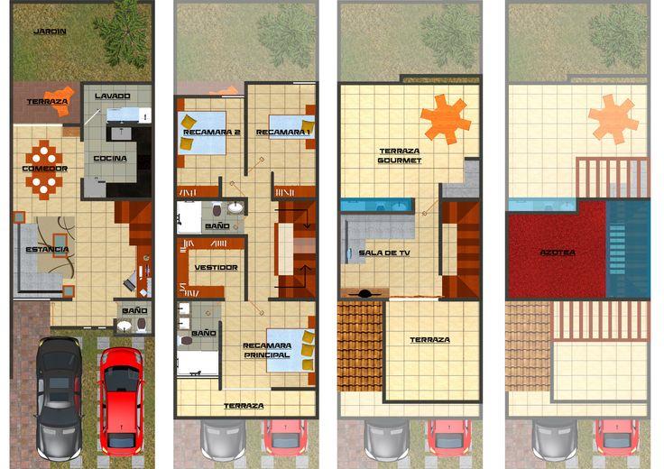 Proyecto de 167 m2 de construcción,  adecuado para un terreno de 6x19 (114m2) o mayor.   Cuenta con:  *Cochera 2 autos *2.5 baños *Área de oficina *Estancia *Comedor *Terraza para desayuno *Cocina  *Área de lavado *Jardín  *2 recamaras *Suite con baño y vestidor *Sala de televisión *Terraza gourmet *Terraza 3