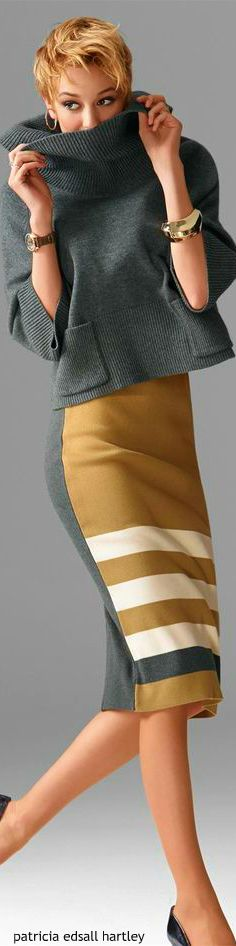 love this look! The shade of yellow in the pencil skirt paired with a fun gray sweater is perfect!