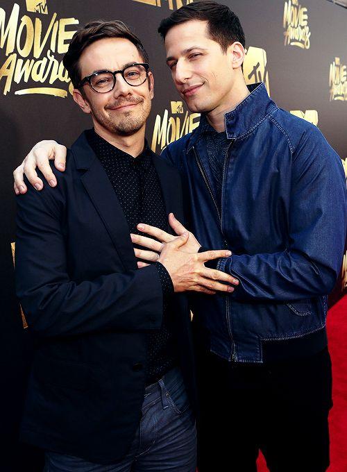 Jorma Taccone and Andy Samberg attend the 2016 MTV Movie Awards (April 9, 2016)