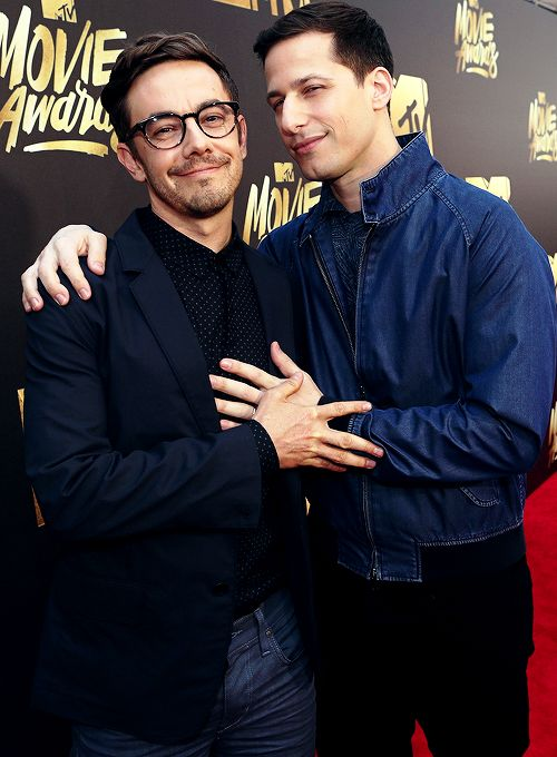 Jorma Taccone and Andy Samberg attend the 2016 MTV Movie Awards (April 9, 2016)