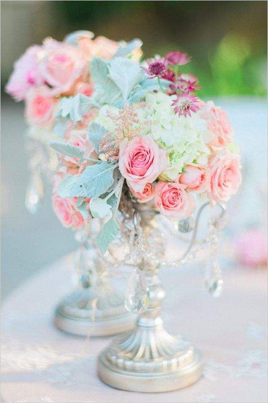 Pretty Little Pastel Wedding Ideas for the Spring - wedding centerpiece idea