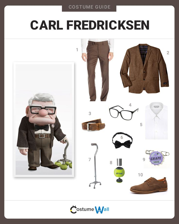 Senior Citizen and protagonist in the Disney movie Up, Carl Fredricksen is a lovable grouch and a worthy cosplay choice.