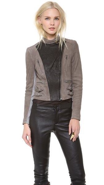 Yigal Azrouel Two Tone Leather Jacket - What a chic jacket for fall and I especially love this color combination. @Yigal Azrouël