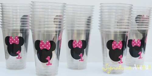 1st Birthday Party MINNIE Mouse CupsSet of 12 by SignatureAvenue, $11.40