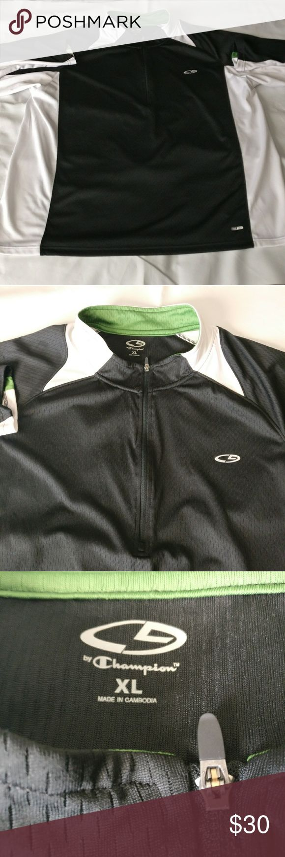 Champion 1/4 Zip Up Pullover Windbreaker Jacket Gently used before hand. No tears or holes.  TAG SIZE: XL  Length:  25 inches armpit to armpit & 29.5 inches shoulder to base  Color - Blue White Green   Fabric - 100% Polyester Champion Sweaters Zip Up