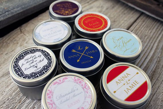 150  Custom Candle Favor in 2oz Tins // Custom by BitterWilloughby