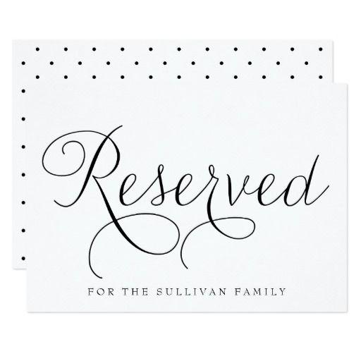 Black Dainty Script Reserved Wedding Sign Card