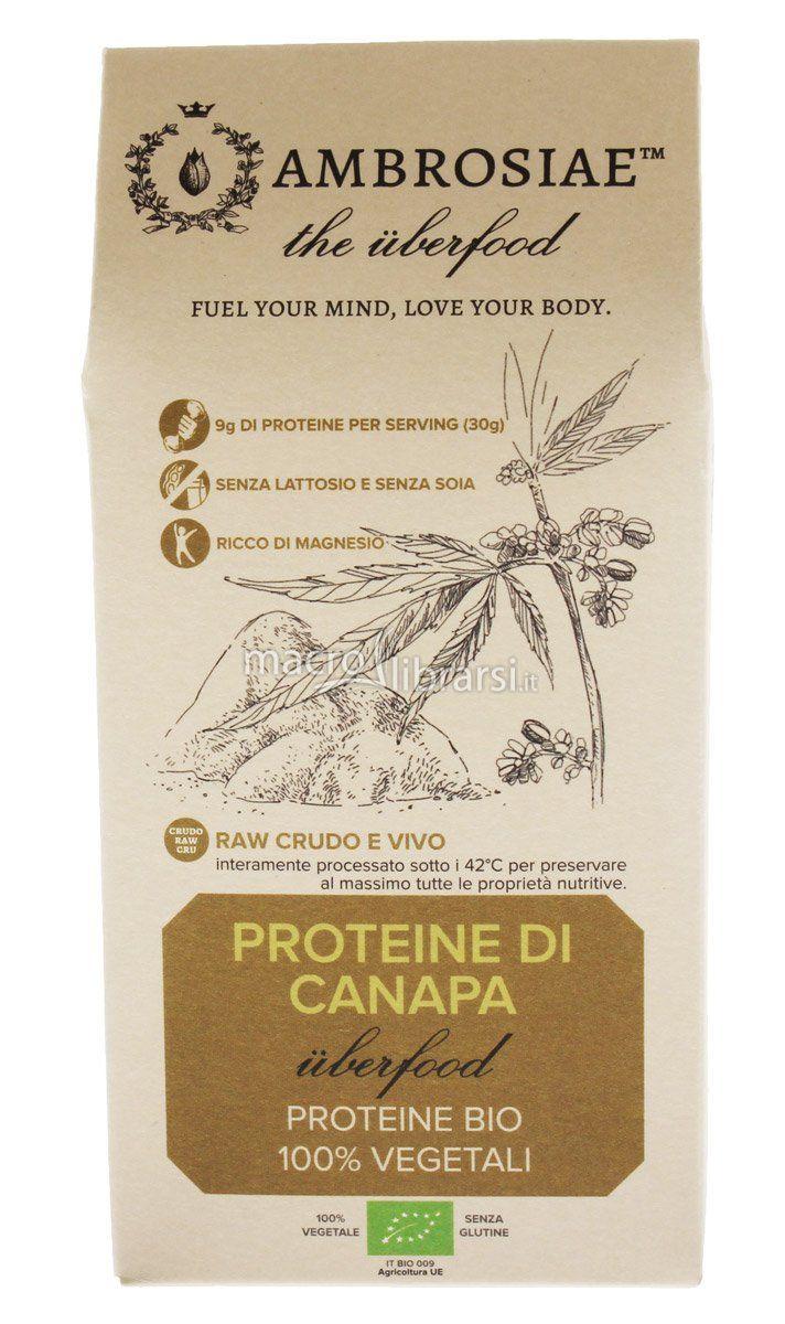 Le Proteine di Canapa bio Ambrosiae sono proteine 100% vegetali ad alto valore biologico, ricche di acidi grassi omega-3 e omega-6, facilissime da digerire, prive di glutine, soia e lattosio; non gonfiano e hanno un profilo di amminoacidi completo.Ricche di proteine, magnesio, acido folico, vitamina B6 e fibre.