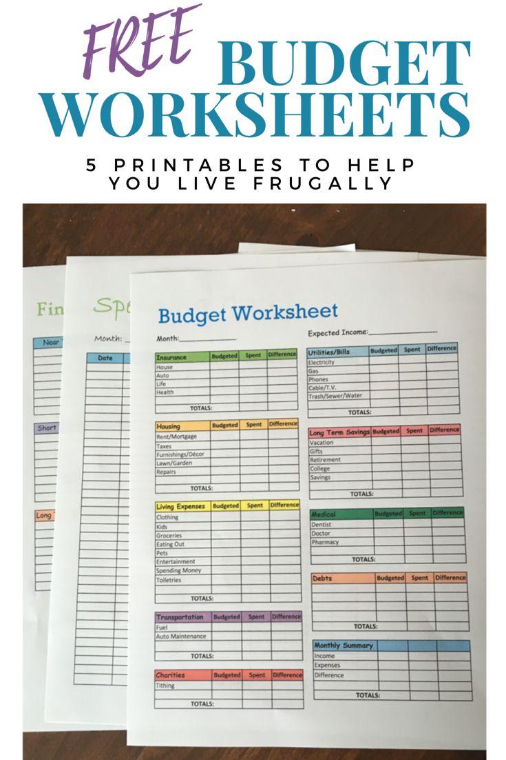 Free Budget Worksheets. Printables to help you sa…