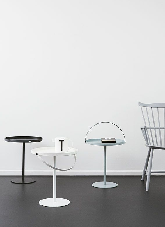 Table to Go - Danish furniture design. Easy to move around with the adjustable handle which is not in the way when the table is in use. Use it as bedside table, coffee table or sofa table.
