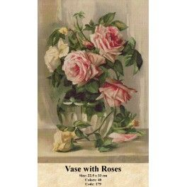 Counted Cross Stitch Model -  Vase with Roses