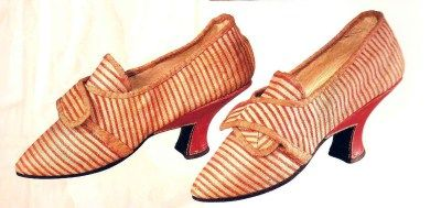 Striped ticking linen shoes with red leather heels, German, c. 1775-80. From the book The Seductive Shoe, Four Centuries of Fashion Footwear by Jonathan Walford, published by Thames & Hudson in 2007.