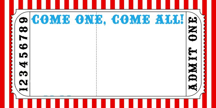 Circus Ticket Template #kidsparty #circus #Invite # ...