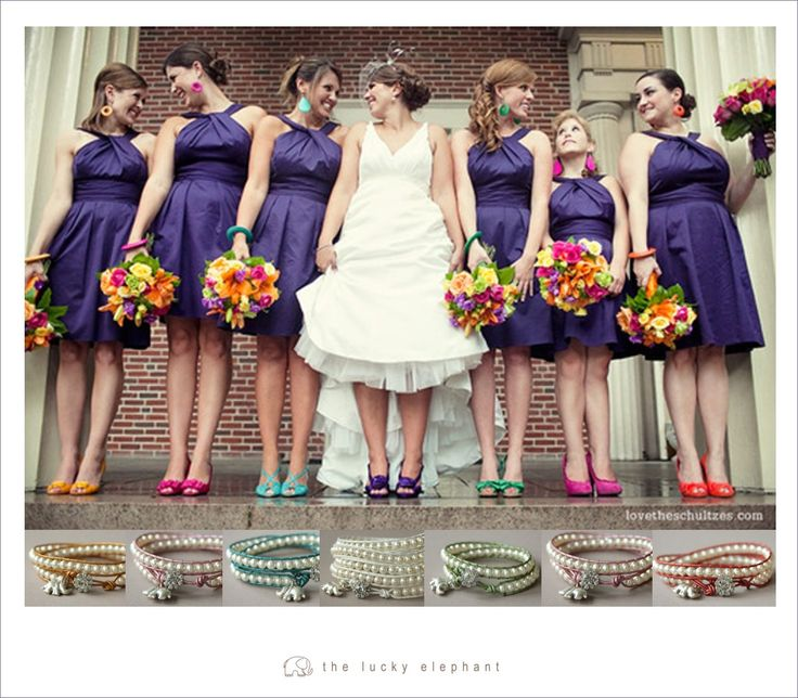 I Like Color And Style Of The Bridesmaids Dresses Each Them Wearing A Diffe Bright