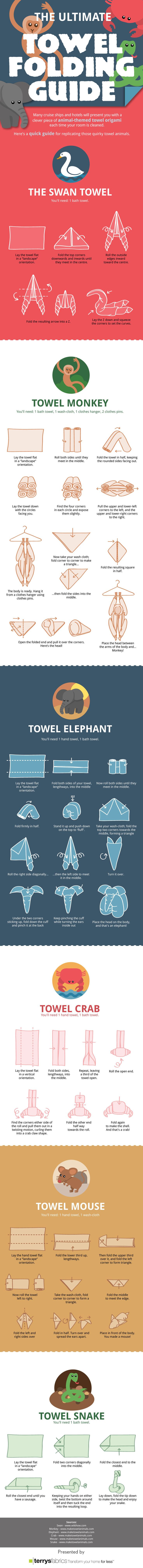The Ultimate Towel Folding Guide #infographic #Towel #HowTo #DIY