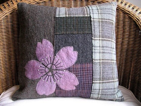 Handmade Cushion Cover / Rustic Farmhouse Decor / Hand Appliqued Art Pillow / Olive Lilac Grey Mauve Upcycled Plaid Wool / OOAK Holiday Gift