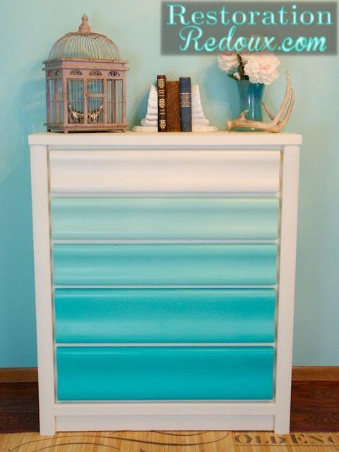 Turquoise Ombre Painted Dresser http://www.restorationredoux.com/?p=5501