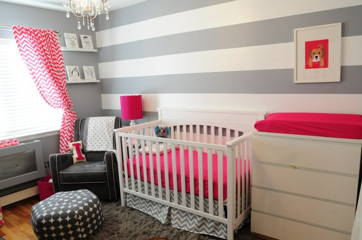 Grey and white striped baby room (with a dash of pink)