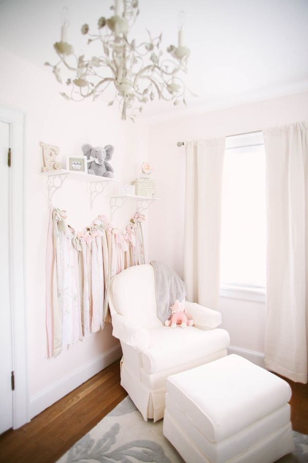 Soft and sweet pink nursery with shades of taupe, gray, and ivory. Nursery Design by Hillary Yeager of Brocade Designs, photos by Jenna Henderson