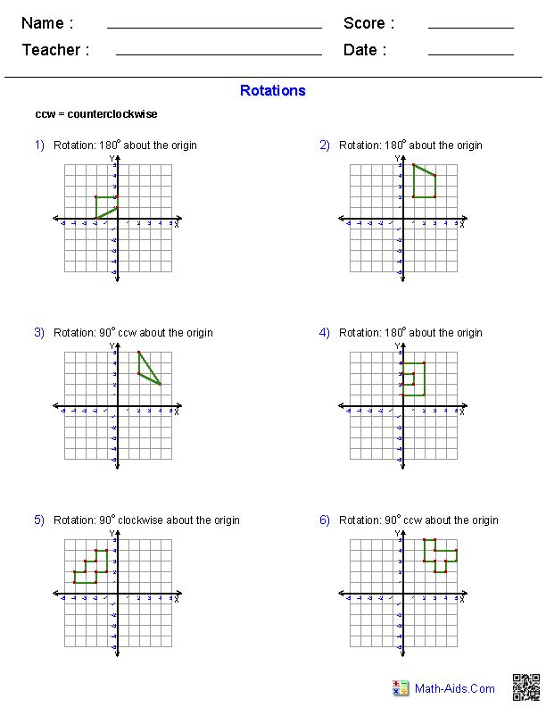 1000 images about Math Reflections Rotations Translations on – Rotation Maths Worksheet